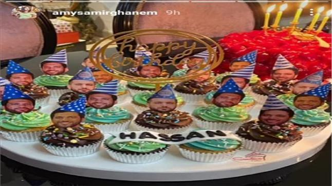 الفنانة إيمي سمير غانم تعايد للفنان حسن الرداد بمناسبة عيد ميلاده