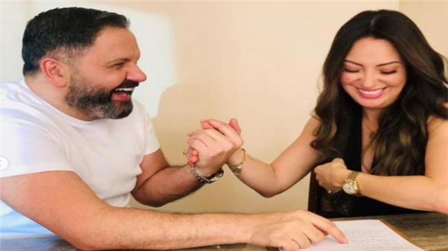 الفنانة نرمين الفقي مع الفنان ادوارد خلال تصوير مسلسل لؤلؤ